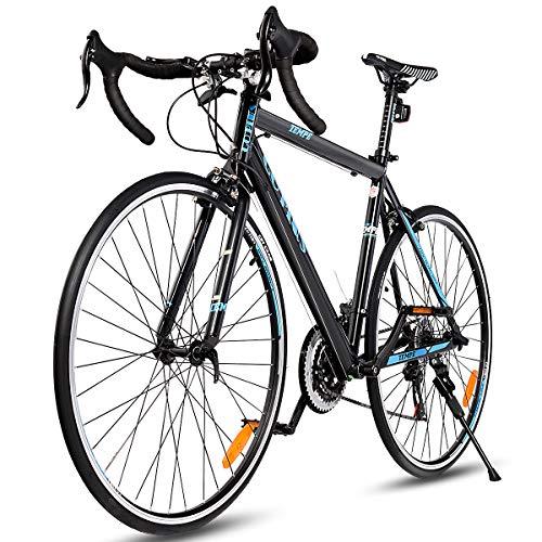 Goplus Commuter Bike Road Bike Quick Release Aluminum 700C 21 Speed (Black)