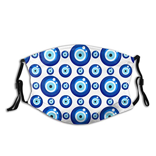 YOLIKA Anti-Dust Washable Reusable Mouth Face Cover Evil Eye Turkish Eye Bead Background Fashion Design for Unisex Headscarf Outdoor Scarf with Replaceable Filter
