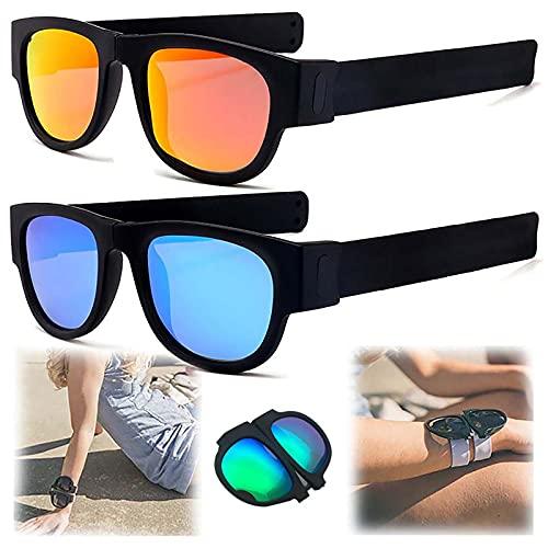 WBias&Belief 2 Paquetes Brazalete Plegable Gafas De Sol,Gafas De Sol Polarizadas Aqua Silver,Gafas de Sol Deportivas para Montar,Gafas Oscuras De Muñeca,Gafas De Sol para Hombres Y Mujeres,B