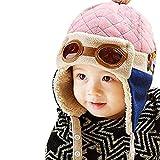 TMEOG Kinder Pilot Aviator Hut, warme Baby Kid Winter Earflap Pilot Cap Fliegerhut Beanie Flug Helm (Rosa)
