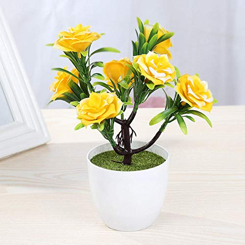 chuanglanja Flor Artificial Exterior Pequeño Conjunto De Rosas De Plástico En Maceta Flor Falsa Bonsai Amarillo