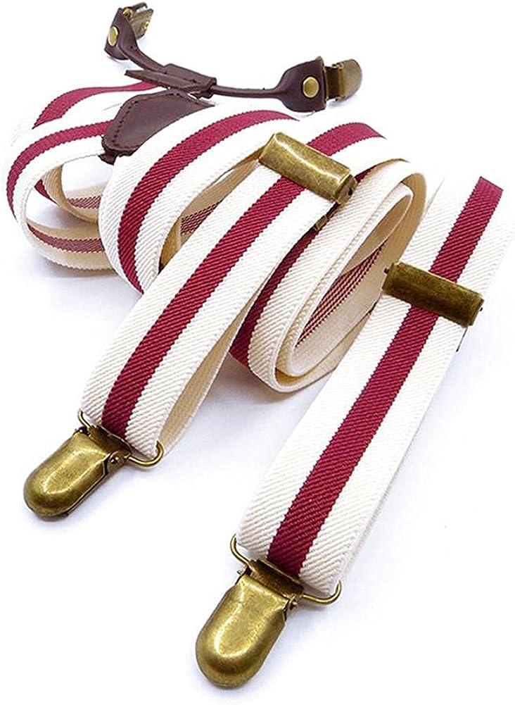 Male Fashion Women'S Suspenders Retro Men Decoration Leather Elastic Strap Clip