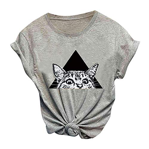 Kledbying T-Shirt Women's Letters Print Short Sleeve Casual Tops Tees Cute Cat Print Shirts Sports Tee Gray