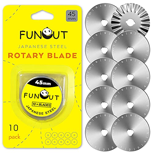 Quilting Rotary Cutter Blades 45mm 10 Pack by FUNCUT,Fits OLFA,DAFA,FISKAR,FUNCUT,Truecut Replacement, Quilting Scrapbooking Sewing Arts Crafts,Sharp and Durable
