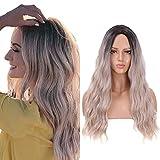 Partie moyenne de la perruque blonde ombrée de mode 22 pouces longue perruque ondulée pour les...