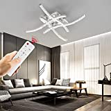 Wayrank Lámpara Led Techo Regulable, Cristal Plafon Led Techo con Mando a Distancia, 4 Placas de Luz LED para Sala de Estar Dormitorios 3000K-6000K