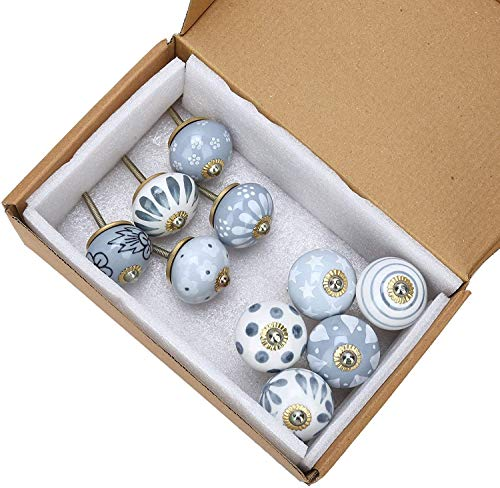 RHF Grey Ceramic Vintage Drawer Handle Door Knobs and Pulls for Kitchen Cabinets and Cupboards - Pack of 10 Pcs (10, Grey Knobs)