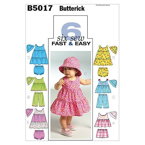 Butterick Patronen B5017 Baby's Top, jurk, slipje, korte broeken, broek en hoed, alle maten door BUTTERICK PATTERNS