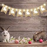 Decorazioni di Pasqua Banner di Tela Ruvida Conigli di Pasqua con 8 Modalità LED Luci della Stringa, Banner di Coniglietti Segno di Bandiere per Decorazione Festa di Compleanno di Pasqua