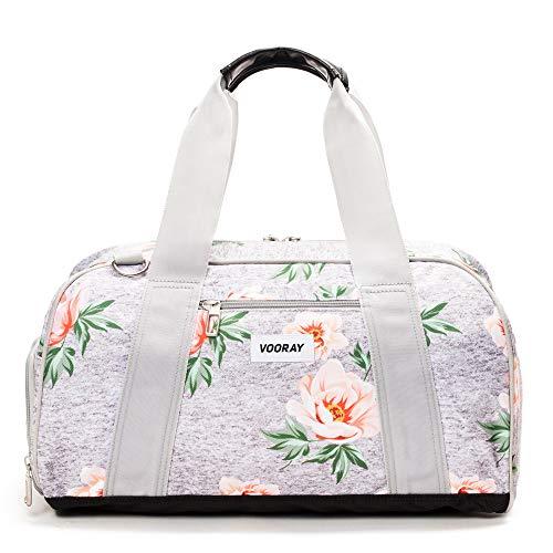 Vooray Burner, Small Duffel Bag, Gym Bag with Shoe Pocket, 16' (Rose Gray)