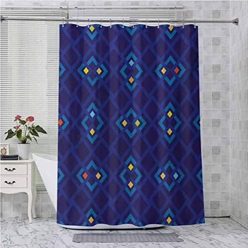 Cortina de ducha con ganchos, diseño abstracto Shabby Chic con cuadrados interiores geométricos con colores artísticos, 175 x 177 cm, juego de cortinas de ducha de baño, color amarillo coral