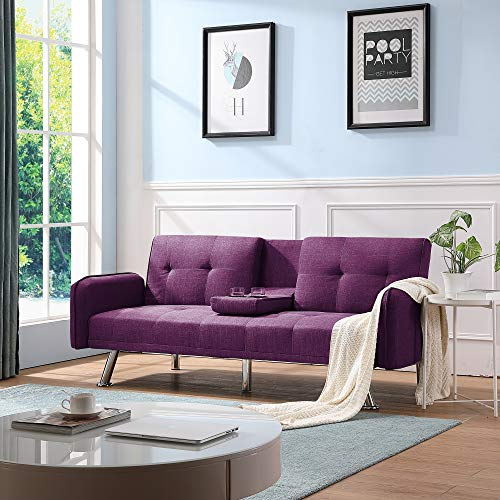 Futon Couch Bed, Sleeper Sofa Best Choice Products Modern Linen Convertible Futon Sofa Bed w/Metal Legs, 2 Cupholders - Purple