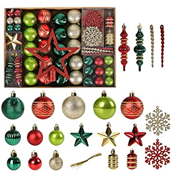 Christmas Tree Ornaments 78 Pack Christmas Tree Decorations Red and Green Gold Christmas Ball Shatterproof Hanging Tree Ornament Set Assorted Set with Hooks