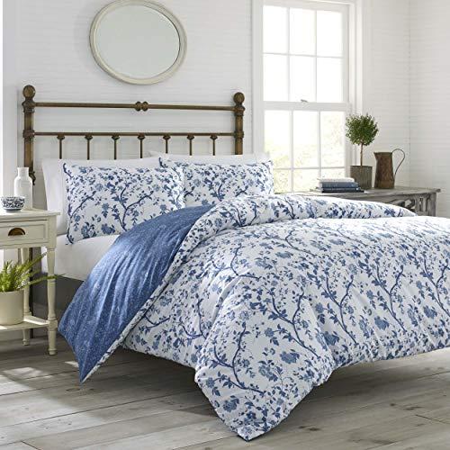 Laura Ashley Home Elise Bonus - Juego de cama de 3 piezas de lujo ultra suave, ligero, cómodo, diseño elegante para decoración del hogar, tamaño matrimonial/Queen, azul medio