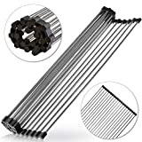 Roll-Up Dish Drying Rack 21'(L) x 16'(W) - Foldable Multipurpose Heat Resistant Large Stainless Steel Kitchen Rollup Dish Drainer Over Sink Mat - Silicone Coated Rims