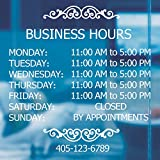 LOKAUS Professional Business Hours Sign Sticker Kit, 20 Inches Changeable Hours Sign for Business, Customized Glass Window Sign for Operation Sign, Outside Store Hours Vinyl Window Stickers.