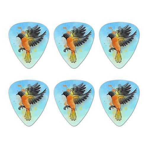 Baltimore Oriole Aquarell Northeastern Bird Neuheit Gitarre Picks Medium Gauge-Set von 6
