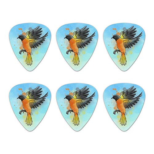 Plektren Gitarren Plektren,Baltimore Oriole Aquarell Northeastern Bird Novelty Guitar Picks Mittlere Stärke - 6 Stück