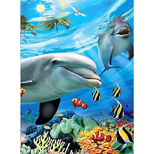 5D Diamond Schilderset voor volwassenen, kinderen. Huisdecoratie, Kamer, Kantoor, Cadeau voor Haar Ham Dolfijn 11.8x15.7in 1 Pack van Jeatang
