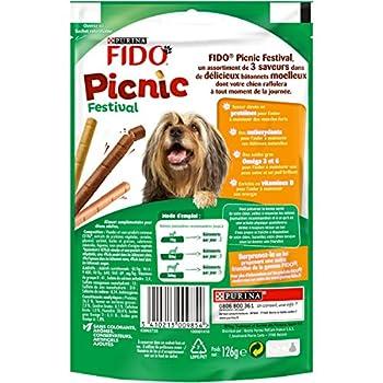 FIDO - Picnic Festival : au Bœuf, au Poulet, à L'Agneau - 126g - Friandises pour Chiens - Lot de 8