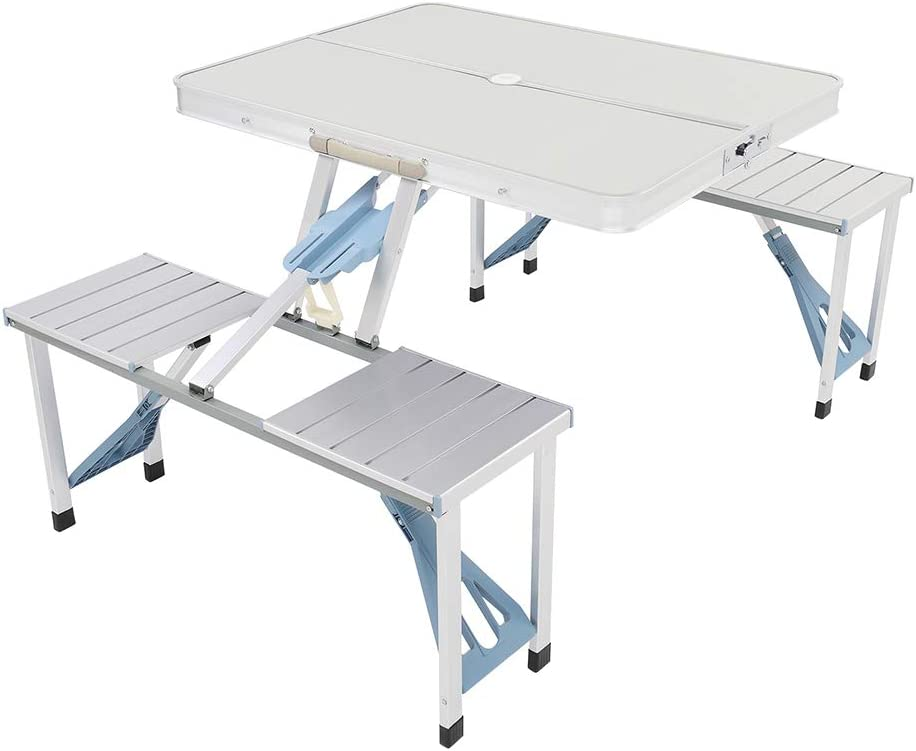 Portable Aluminum Folding Picnic Table with Seats 4 Piece Max 82% OFF Alternative dealer One Ch