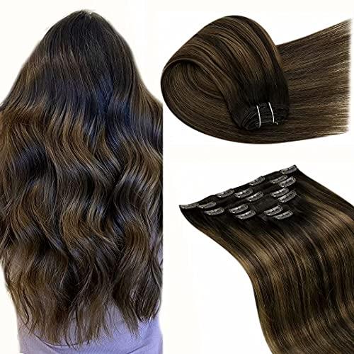 7Pcs Cheveux Naturel Clip - LaaVoo Extension Clip Cheveux Humain Ombre Marron Foncé A Brun Clair Balayage Double Weft Extension Cheveux Clip Naturel M