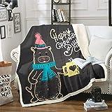 Erosebridal Kids Groundhog Blanket Throw Cute Animal Plush Bed Blanket, Cartoon Style Sherpa Throw Decor Black Retro Fleece Blanket for Boys Girls Children for Living Room Twin Size