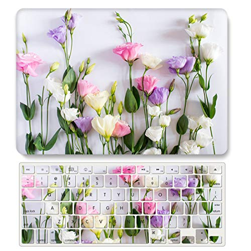 One Micron Case+Keyboard Cover for MacBook Pro 13 Inch Hard Case Pattern Scratch Guard Cover for MacBook Pro 13 inch 2020 (A2251/A2289)-Flower Print 738