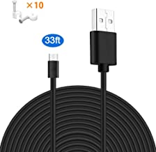 MOYEEL 33Ft Micro USB Power Extension Cable for Wyze Cam/Wyze Cam Pan, Blink XT Cam etc and Quick Charge Power for Security Camera(Black)
