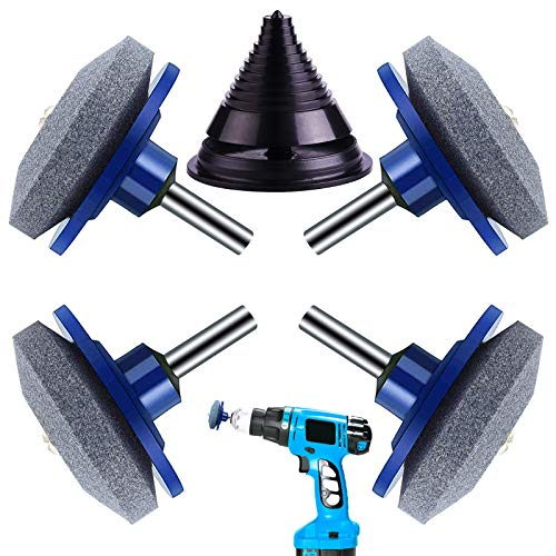 Lawn Mower Blade Sharpener, Mower Blade Balancer, Universal Multi-Sharp Rotary Lawnmower Sharpener for Any Power Drill & Hand Drill (4PCS Blue Lawn Mower, 1 Blade Balancer)