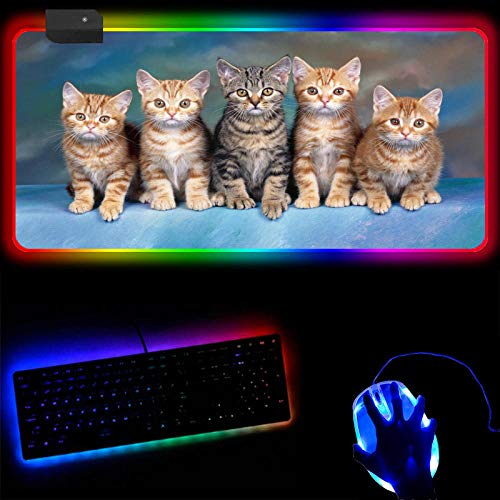 Gaming Mouse Pads Cute Cat RGB Large Mouse Pad XXL Colorful Led Sexy USB Gaming Desk Mat Laptop Luminous Mousepad-30X70X0.4Cm