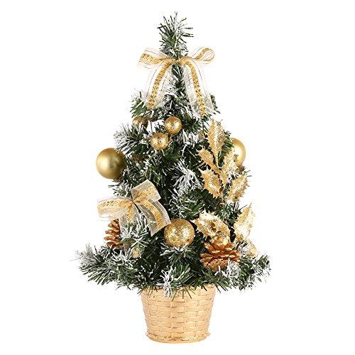 MORESAVE Table de Noël Arbre Salle à Manger Bureau Bureau Petit Arbre de Noël décorations (40cm, Or)