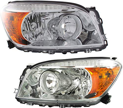 Headlight Set Compatible with 2006-2008 Toyota RAV4 Left Driver and Right Passenger Side Halogen