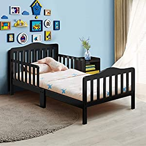 Costzon Toddler Bed, Classic Design Rubber Wood Kids Bed w/Double Safety Guardrail for Children Bedroom Furniture, Kids Room, Parent Room, Fits Crib Mattress, Gift for Toddler Boys & Girls, Black