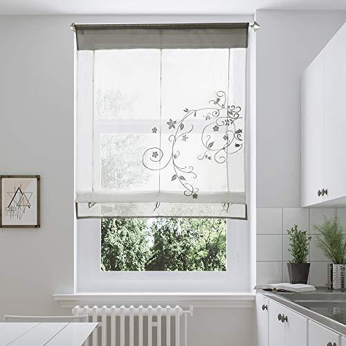 i@HOME Voile Raffrollo Raffgardinen mit Schlaufen Ösenrollo Fenster Vorhang Scheibengardinen für Fenster (Grau,60 * 120cm)
