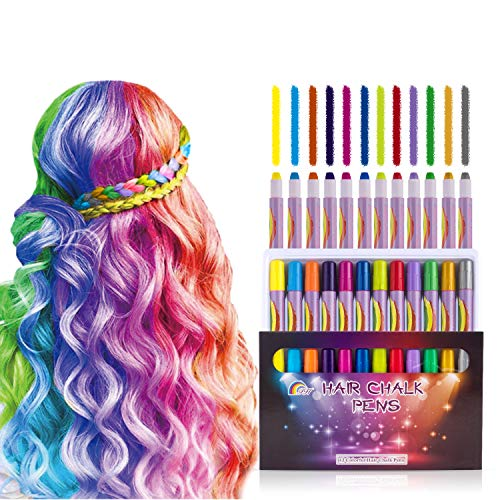 12 Color Hair Chalk Pens for Girls Kids Temporary Bright Color Washable Non-Toxic Hair Dye Perfect Birthday Gifts for 3 4 5 6 7 8 9 10+ Year Old Girls Makeup Party Halloween Cosplay Christmas Party