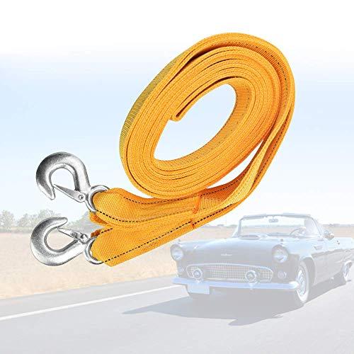 RMENOOR Cuerda de remolque, capacidad de carga de la correa de remolque de 5 metros remolque de automóvil cinta de remolque Cinturón de cuerda de remolque para automóviles, camiones, automóviles