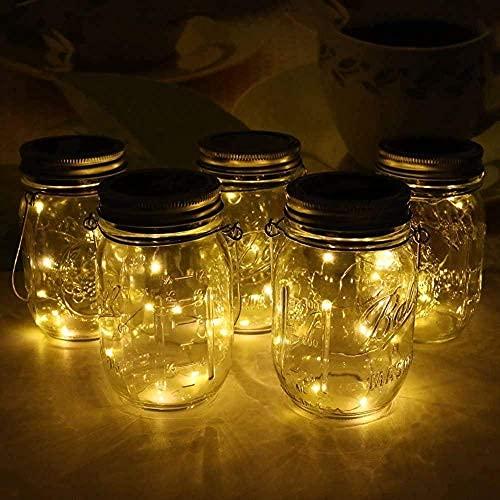 Linterna solar, 5 piezas de 30 luces LED de color blanco cálido, para jardín, lámparas solares exteriores, decoración de luces colgantes, resistente a la intemperie, para patio, patio, camino