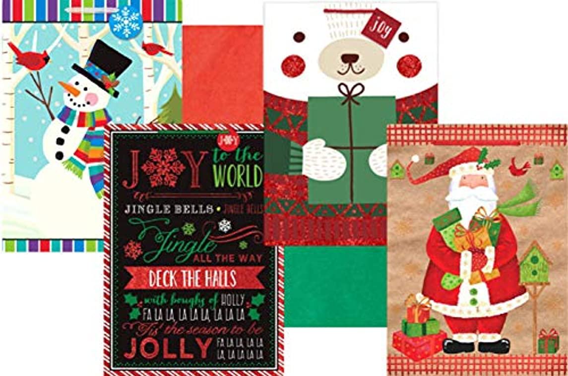 Christmas Holiday Gift Bags - Oversize Jumbo - Bundle of 4 Bags Plus Red and Green Tissue Paper