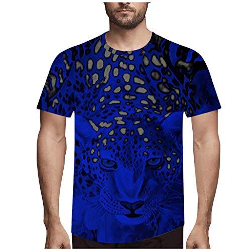 Yowablo Shirt Femme Elegant Shirt Femme Grande Taille T Shirt Tops Hommes Mode Nouveauté LéOpard 3D Imprimer O-Neck Blouse À Manches Courtes (S,1Bleu Foncé)