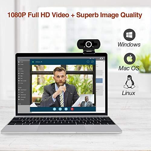 infinitoo Webcam 1080P Full HD mit Mikrofon, Autofokus USB Kamera Facecam Webkamera, PC/Mac/ChromeOS/Android/Xbox One, Schwarz