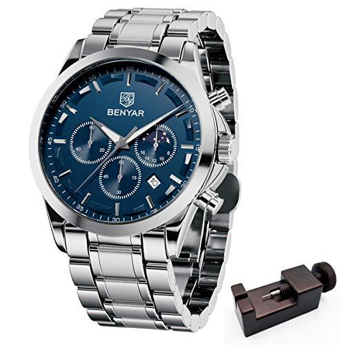 BENYAR herrklockor analog kvarts rörelse armbandsur snygg affärsidé vattentät kronograf elegant present för män Armband Silver Blå
