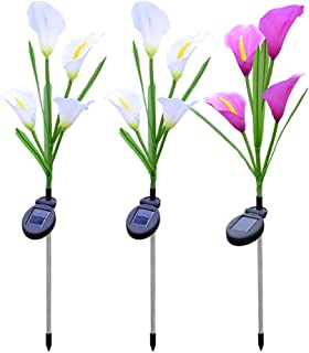 Juesi 3 Pack Solar Lights Outdoor Garden Stake Flower Lights with Total 12 Calla Lily Flower, Multi Color Changing LED Lily Lights for Patio, Lawn, Garden, Yard Decoration (2 White &1 Purple)