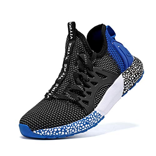 JMFCHI FASHION Boys Running Shoes Kids Sneakers Girls Athletic Tennis Shoe Breathable Lightweight Slip on Sports Knit Sock Sneaker Blue Size 3