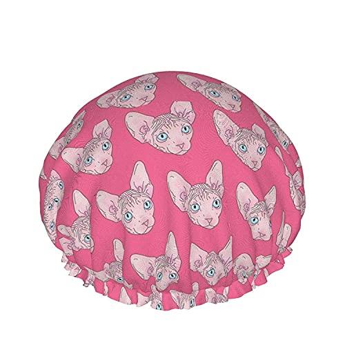 Sphynx Gato Rosa Gorro De Ducha Para Las Mujeres De Pelo Largo De La Prenda Impermeable De Lujo Reutilizables Sueño Salón De Spa Bonnet-Sphynx Gato Rosa