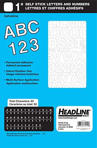 Letras y números de vinilo autoadhesivos, Letras y números, Blanco
