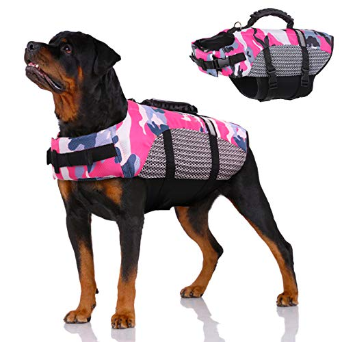 Dog Life Jacket Pet Preserver Vest,Portable Dog Swimsuit Lifesaver Vest with Rescue Handle for Small Medium Large Breed Dogs, Adjustable Dog Safety Floatation Vest for Boating Kayaking Swimming