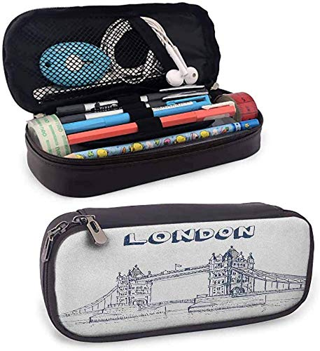 London Lightweight Holder Fall Tower Bridge in London Britische Architektur Internationale Kultur Icon Illustration Netztasche, mehrere Schichten Zip Po