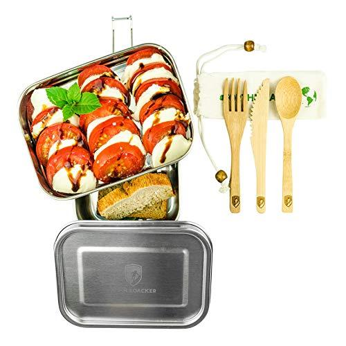 Alpin Loacker 2 Layer Edelstahl Lunchbox 3 teilig mit Auslaufsicherem Deckel und Besteck (1340ml)