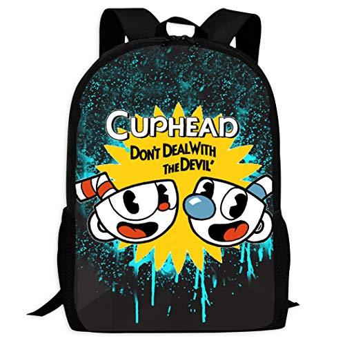 Cup#Head Unisex Backpack 3D Laptop School Travel Shoulder Bag Daypack Black